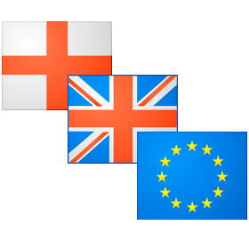 Flags of England, UK and EU